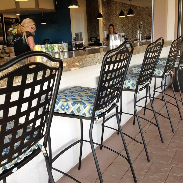 Wrought Iron Bar Stools with Custom Cushions