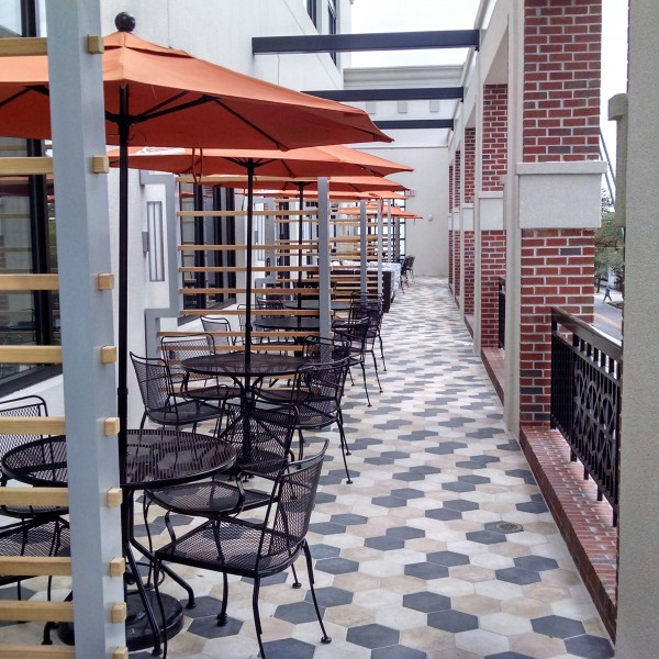 Wrought Iron Chairs and Tables with Cafe Market Umbrellas