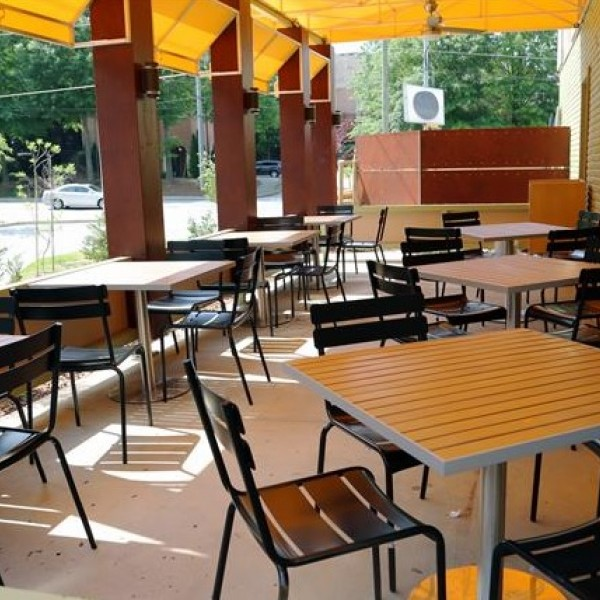 Bistro Metal Seating And Faux Teak Restaurant Table Top