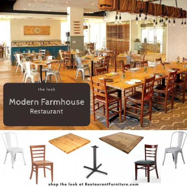 Modern Farmhouse Restaurant   Rustic Wood Paired With Modern Industrial  Metal