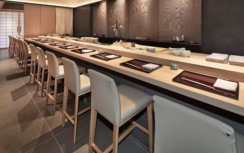 Modern Indoor Restaurant Chairs and Bar Stools at Sushi ii in Newport Beach