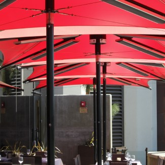 Restaurant heated patio umbrella collection