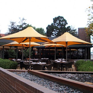 Heated patio umbrella collection for outdoor restaurant patio settings