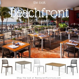 Beachfront Restaurant with Resin Chairs and Teak Composite Tables