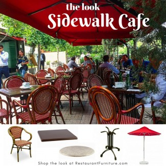 Sidewalk Cafe with Rattan Chairs and Commercial Market Umbrellas