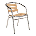 Aluminum Arm Chair With Wood Slats T102